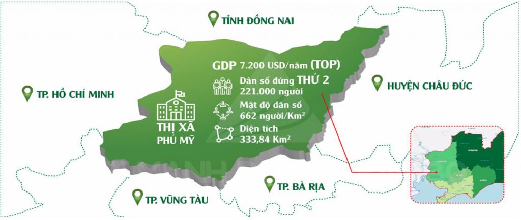 Phú Mỹ Gold City vị trí tại trung tâm Tx.Phú Mỹ