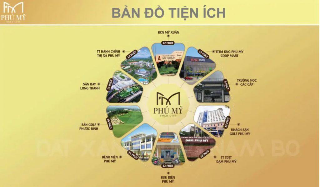 Bản đồ tiện ích của dự án Gold City Phú Mỹ