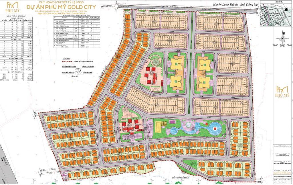 Mặt bằng tổng thể của dự án Gold City Phú Mỹ